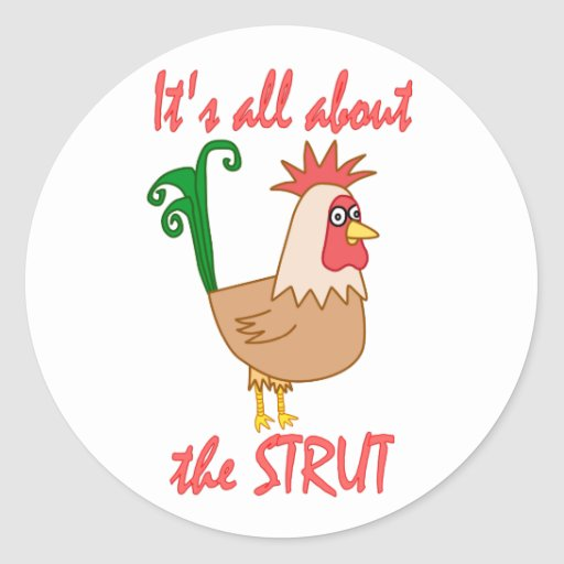 Rooster Struts Stickers