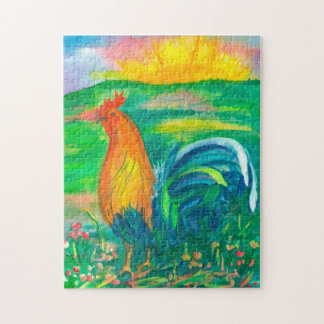 Rooster Sunrise Landscape Painting Jigsaw Puzzle