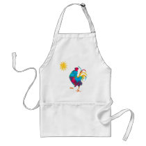 Rooster the King of the BarnYard Watercolor Adult Apron