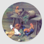 Rooster Turnip Basket Hens Classic Round Sticker