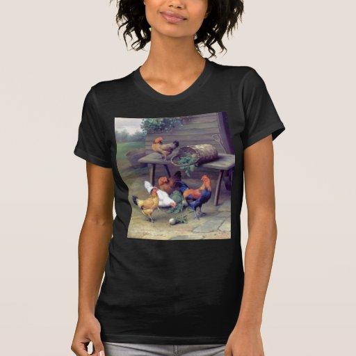 Rooster Turnip Basket Hens Tee Shirt