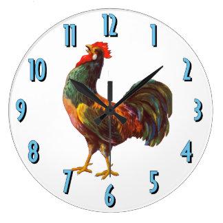 Rooster Vintage Crate Art Kitchen Clock