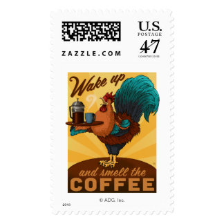 Rooster - Wake up and Smell the Coffee Stamp