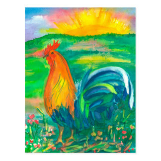 Rooster Watercolor Painting Postcard