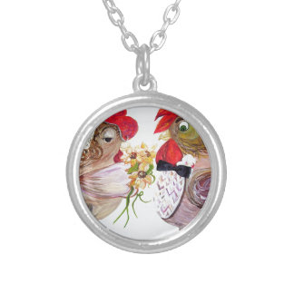 Rooster Wedding Silver Plated Necklace