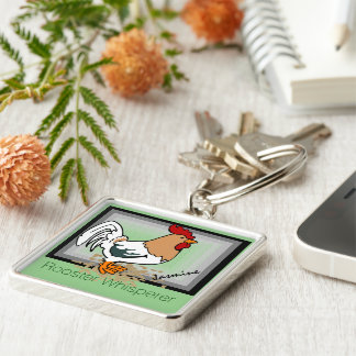 Rooster whisperer monogram Silver-Colored square keychain