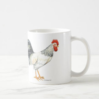 Rooster white with black tailfeather handpainted coffee mug