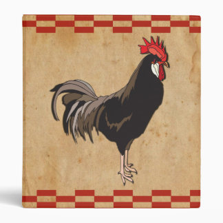 Rooster With A Red Checkered Border 3 Ring Binder