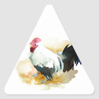 Rooster with an Attitude Triangle Sticker
