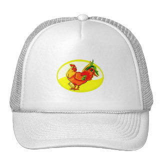 rooster with chick yellow oval.png trucker hat