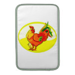 rooster with chick yellow oval.png sleeve for MacBook air