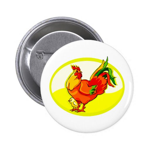 rooster with chick yellow oval.png pin