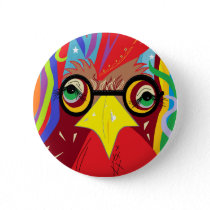 Rooster with Glasses Button