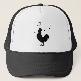 Rooster with Music Notes in Silhouette Trucker Hat