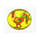rooster yellow background chicken.png stretched canvas prints