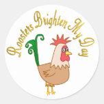 Roosters Brighten My Day Round Stickers