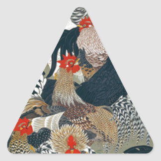 Roosters by Ito Jakuchu Triangle Sticker