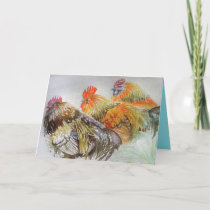 Roosters Cockrel Watercolour Birthday Card