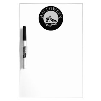 Roosters fighting in the moon light Halloween Dry-Erase Board