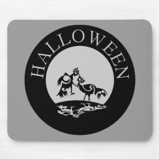 Roosters fighting in the moon light Halloween Mouse Pad
