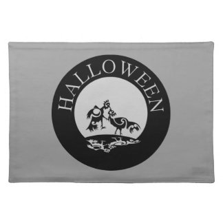Roosters fighting in the moon light Halloween Place Mat