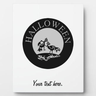 Roosters fighting in the moon light Halloween Plaque