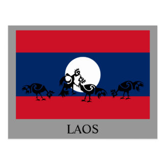 Roosters fighting / Laos flag Postcard