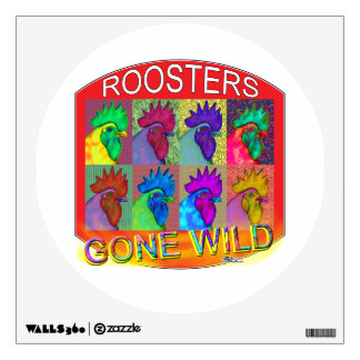 Roosters Gone Wild #3 Wall Sticker