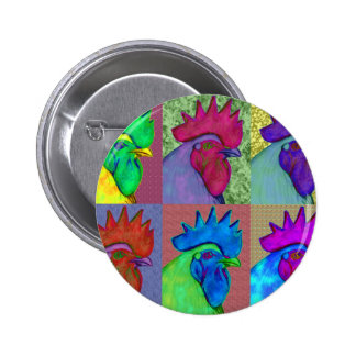 Roosters Gone Wild! Pinback Buttons