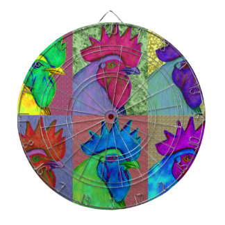Roosters Gone Wild! Dartboard With Darts