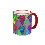 Roosters Gone Wild! Ringer Coffee Mug