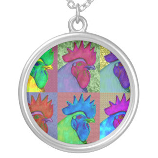 Roosters Gone Wild! Silver Plated Necklace