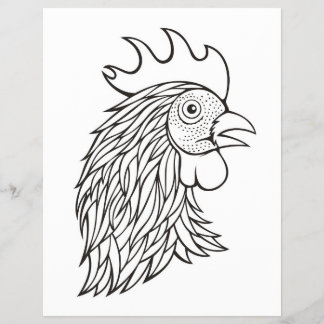 Rooster's Head Coloring Book Page