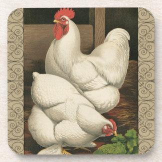 Roosters & Hen outside Hen House with White Border Beverage Coaster