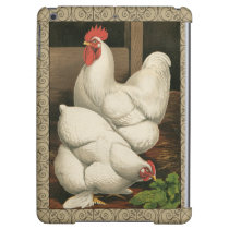 Roosters & Hen outside Hen House with White Border Case For iPad Air