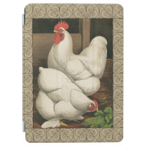 Roosters & Hen outside Hen House with White Border iPad Air Cover