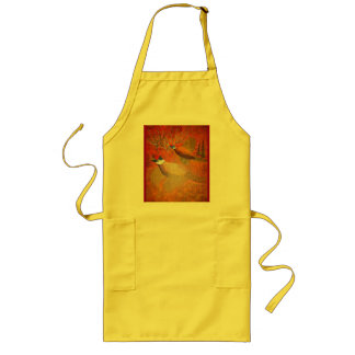 Roosters in the spotlight long apron