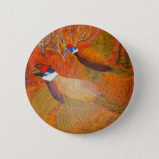 Roosters in the spotlight pinback button