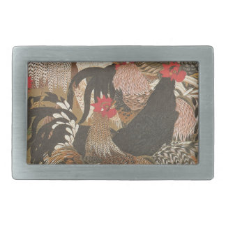 Roosters Japanese Art Rooster Year 2017 Buckle Rectangular Belt Buckle