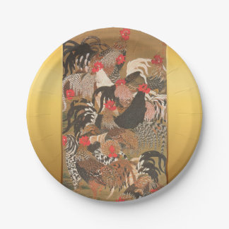 Roosters Japanese Art Rooster Year 2017 P Plate 7 Inch Paper Plate
