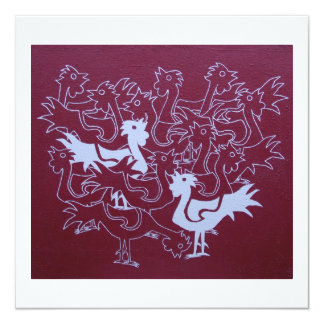 Roosters on hessian card