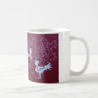 Roosters on hessian painting print, mug