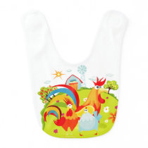 Roosters on the Farm Bib
