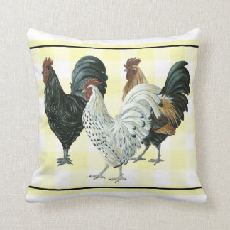Roosters out for a stroll pillow