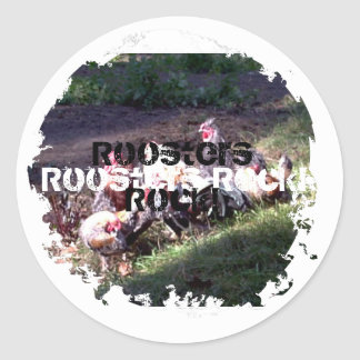Roosters Rock! Classic Round Sticker