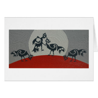 Roosters sparring, painting print card