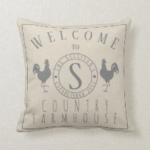 Roosters Welcome to Name Country Farmhouse Throw Pillow