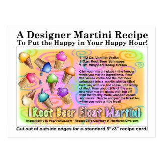 Root Beer Float Ice Cream Martini Recipe Postcard