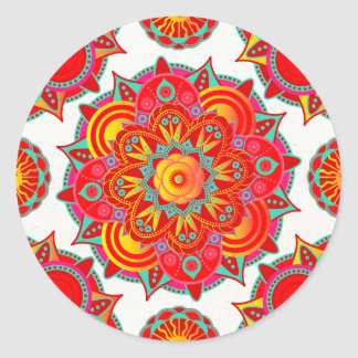 Root Chakra Mandala Classic Round Sticker