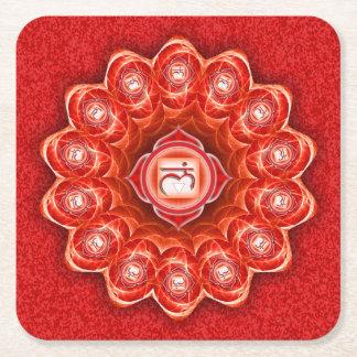 Root Chakra Mandala Square Paper Coaster